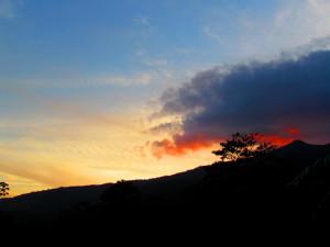 Setting sun behind Miravalles