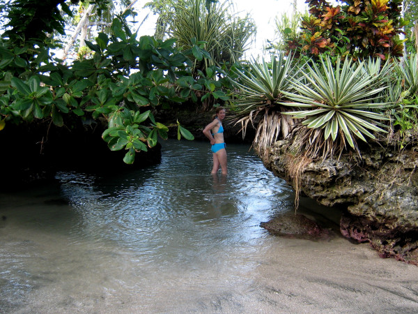 Piscina Natural north of Cahuita is a tiny beach and natural swimming pool created by a collapsed lava tube