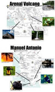 Activity Map for Arenal and Manuel Antonio